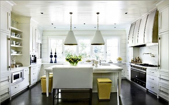 ...: Dreams Kitchens, Benches, Floors, Kitchens Ideas, Kitchens Islands, Range Hoods, Yellow, Stools, White Kitchens
