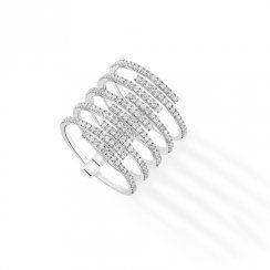 Messika Paris 18ct White Gold 'Gatsby' Pave Set Diamond 10 Strand Ring