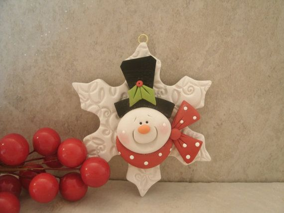 Snowman and Snowflake Christmas Ornament by countrycupboardclay, $9.95
