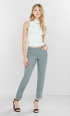 heather gray studio stretch editor ankle pant from EXPRESS