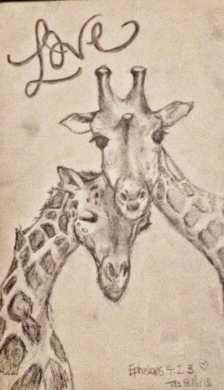 Beautiful Creatures Series: Giraffe Loving  Sketch No#2