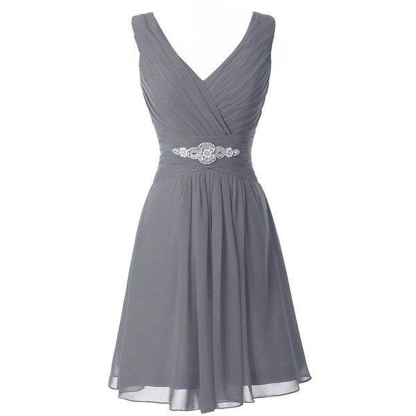 Manfei Women's V-Neck Chiffon Short Bridesmaid Dress Party Dress ❤ liked on Polyvore featuring dresses, grey dress, gray cocktail dress, short cocktail dresses, v neck dress and short dresses