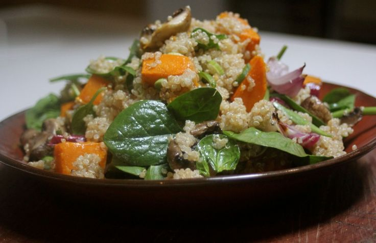 Healthy salad with quinoa, roasted pumpkin and forest mushrooms