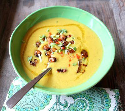 Linsesuppe - og  Kikertsuppe med crispy paprika-kikerter - Red Lentil-Chickpea Soup with crispy PapricaChickpeas