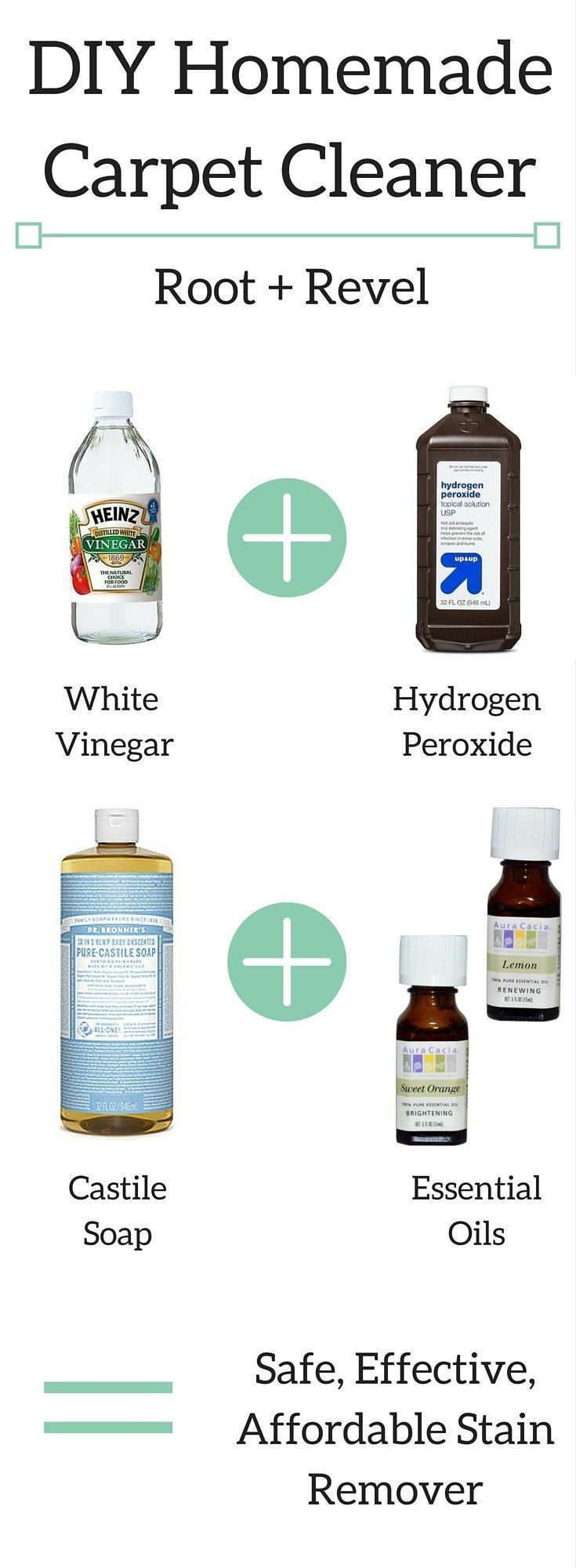 Toss toxic cleaners and dangerous chemicals! Remove stains with this safe, effective DIY homemade carpet cleaner. Quick + easy to make with pantry staples! | http://rootandrevel.com