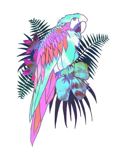 PARROT Ekahi B Art Print Schatzi Brown #tropical #parrot #illustration