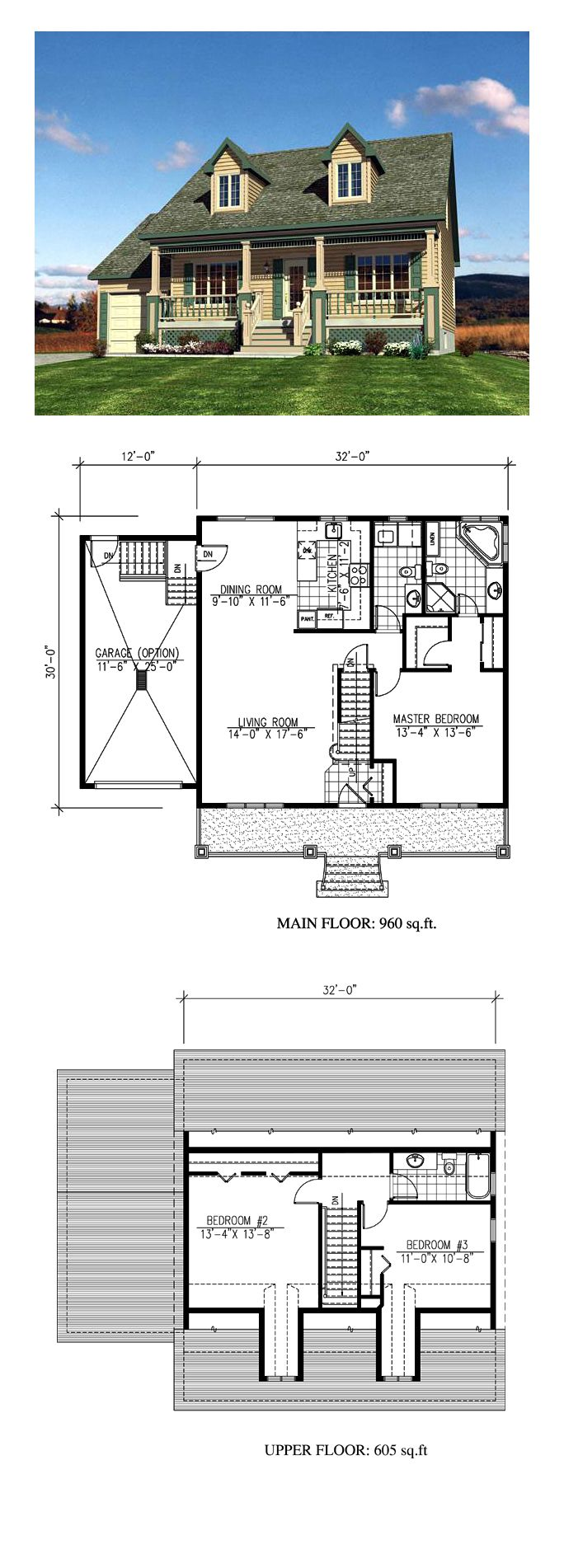 Cape Cod House Plan 48171 | Total Living Area: 1565 sq. ft., 3 bedrooms and 2 bathrooms. #houseplan #capecod