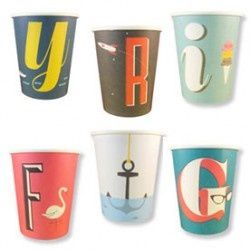 """A to Z: Paper Cups from the fantastic shop """"Hey YoYo"""": Mid Century Modern, Cups Sets, Parties Ideas, Paper Parties, Typographic Paper, Modern Paper, A Z Typographic, Paper Cups, Paper Plates"""