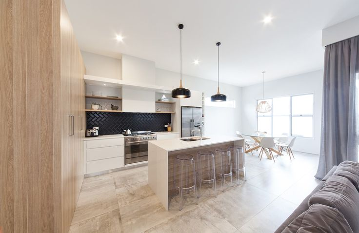 polytec doors in Natural Oak and Caesarstone benchtop in Organic White