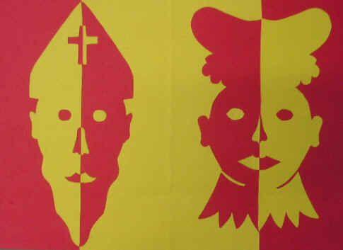 Gespiegelde Sinterklaas en Zwarte Piet http://www.juftinta.nl/sinterklaas-knutselen/knutsels-gespiegelde-sinterklaas-en-zwarte-piet-knutselen/