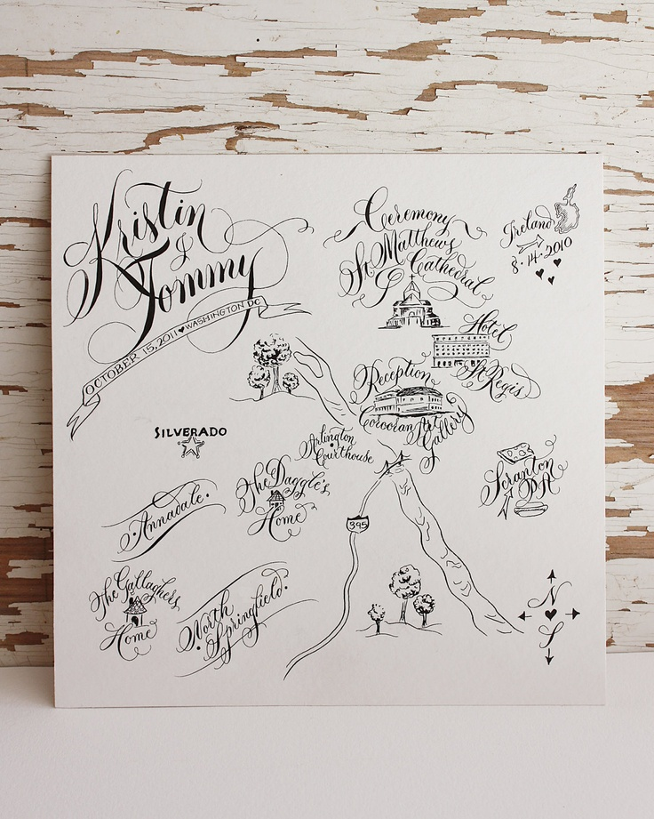 Captivating Personal Wedding Map   Line Drawing. Via Etsy.