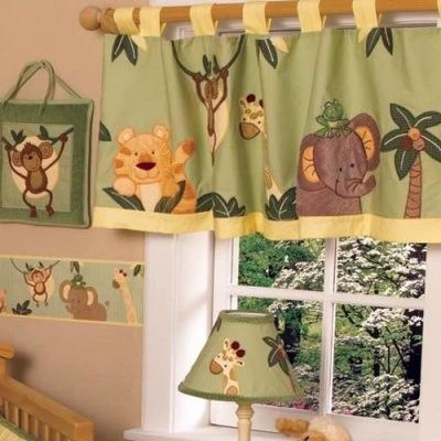 NoJo Jungle Babies Valance modern nursery decor