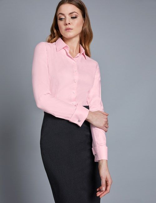 c103d17abcbb Women's Executive Pink Twill Fitted Shirt - Double Cuff | Women's ...
