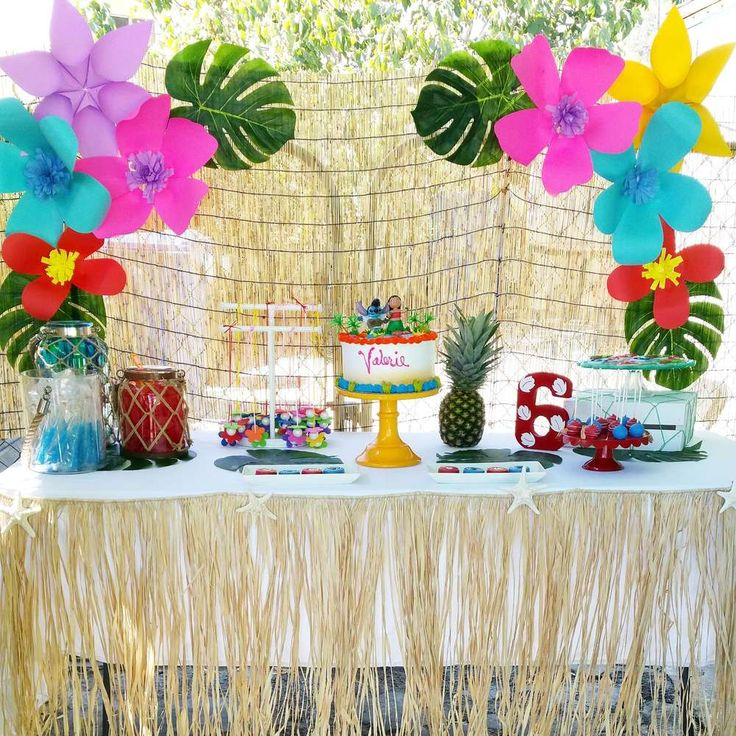Lilo and Stitch birthday party dessert tables! See more party ideas at CatchMyParty.com!