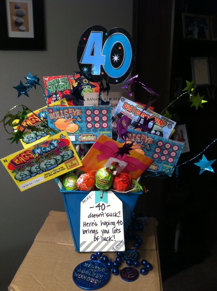 Image result for 40 lotto gift basket 40th birthday