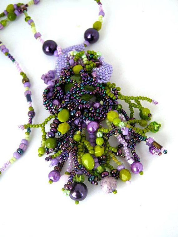 Purple green neckace, Long necklace, Boho bead necklace, Beaded jewelry, Seed…