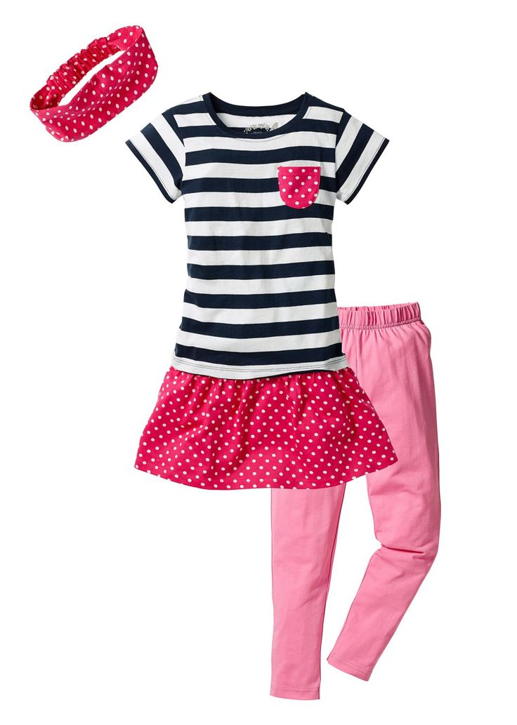 Jurk + legging + haarlint (3-dlg. set), mt. 80-122 donkerblauw gestreept/roze - bpc bonprix collection - bonprix.nl
