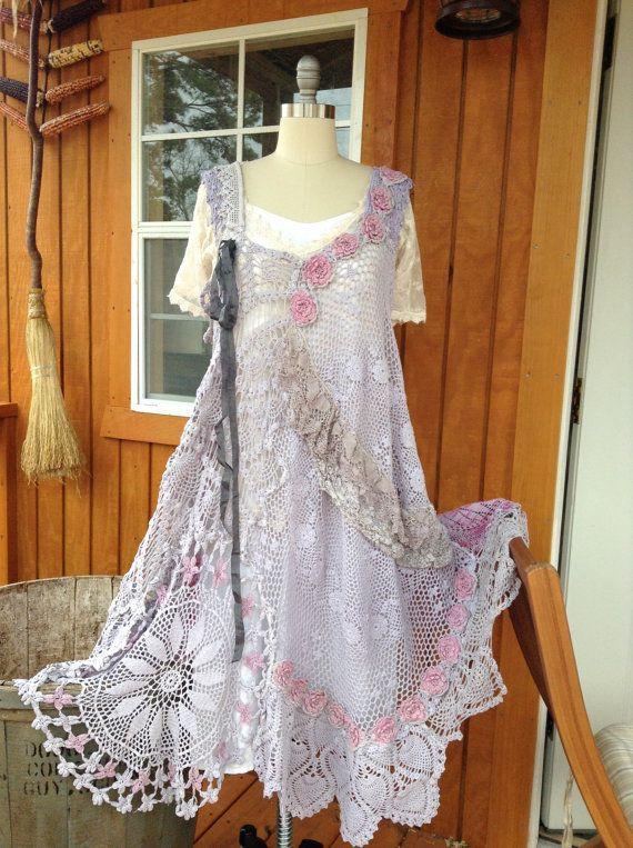 Luv Lucy Crochet Dress Signs of Spring  boho by LuvLucyArtToWear