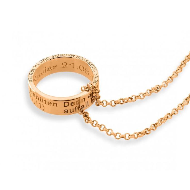 Eine schöne, personalisierte Kette aus 925 Sterling Silber hochwertig rosé vergoldet. An der Kette hängt ein Anhänger Ring mit Ihrer gewünschten Gravur. Umlaufend ist folgender Taufspruch auf den Ring graviert: