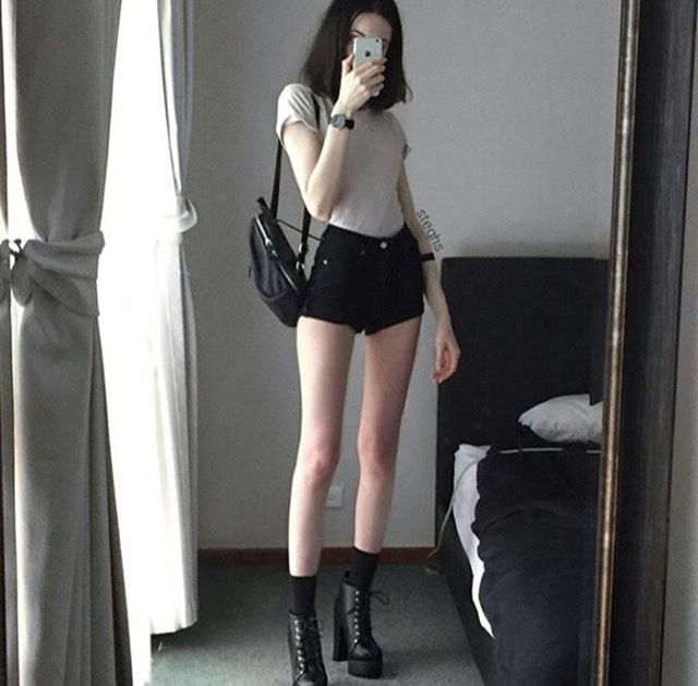 shorts + t + lace up heels + backpack