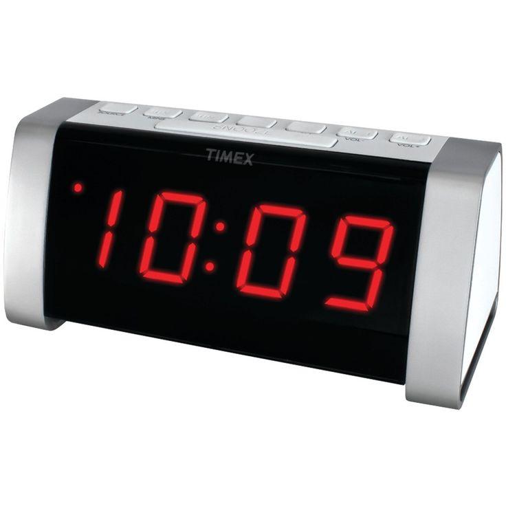 "Timex Am And Fm Dual Alarm Clock Radio With Jumbo 1.8"" Led Display & Auxiliary Input (white)"