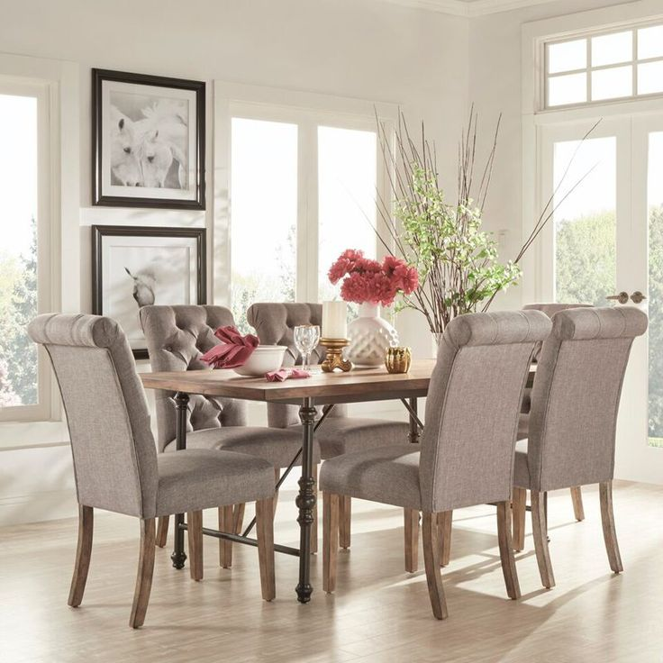 homelegance 7 piece industrial dining set with gray tufted chairs 509972mtl