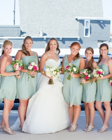 Sea foam bridesmaids in J. Crew