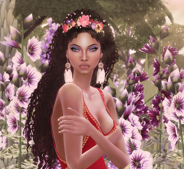 the sims 4 brazil ebonix curly hair cc and flower crown