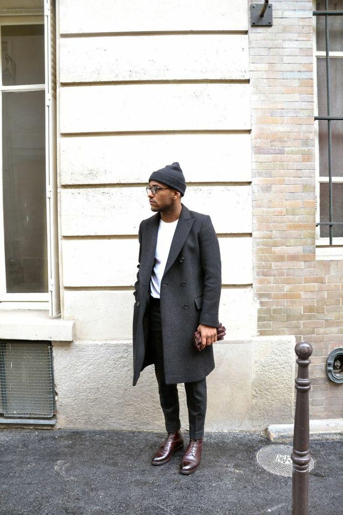 comment etre elegant avec un manteau gris mi-long pour les hommes qui aiment la mode