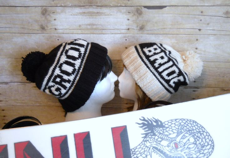 Bride and Groom Beanie Set, Retro Styled Beanies for Wedding Photo Props, Winter Wedding Hats, Retro Sports Beanies, Snowboard Wedding by Pikeys on Etsy