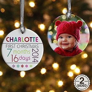 Personalize your Christmas tree with this decorative 2-Sided Baby's 1st Christmas Personalized Age Ornament. Find the best personalized Christmas ornaments at PersonalizationMall.com