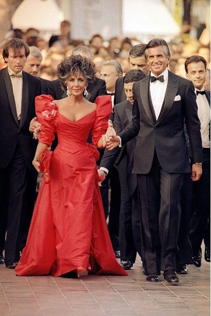 Elizabeth Taylor and George Hamilton, the 'Tan Years', in Cannes 1987 for the Film Festival Red Carpet Gala