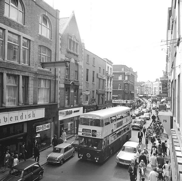 Grafton Street Dublin Circa 1965. It's been pedestrianised since the late seventies.