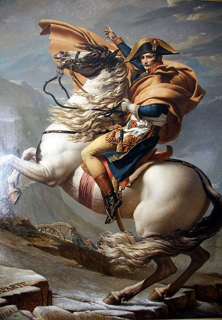 Bonaparte Crossing the Alps at the St. Bernard Pass, Jacques-Louis David (1800-1801) #art #painting