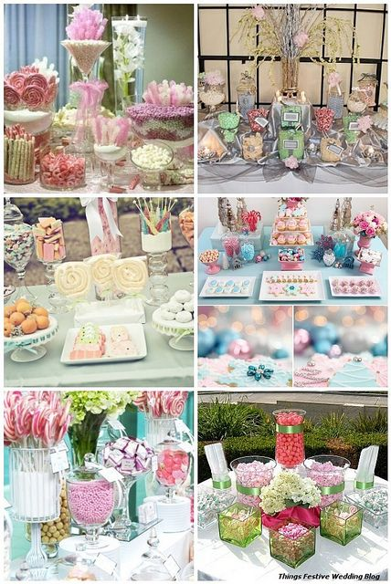 Pastel colored candy buffets