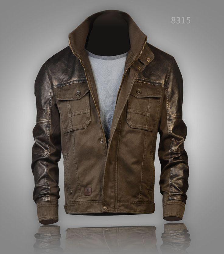 Military style Harrington Bronze Faux Leather Jacket