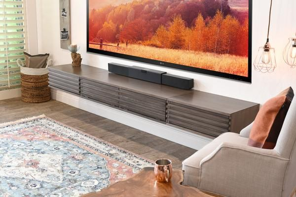 Floating Wall Mount TV Stand - Lotus 3 Piece - Driftwood Gray - Woodwaves
