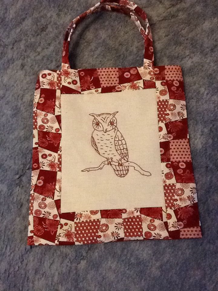 Redwork Owl bag