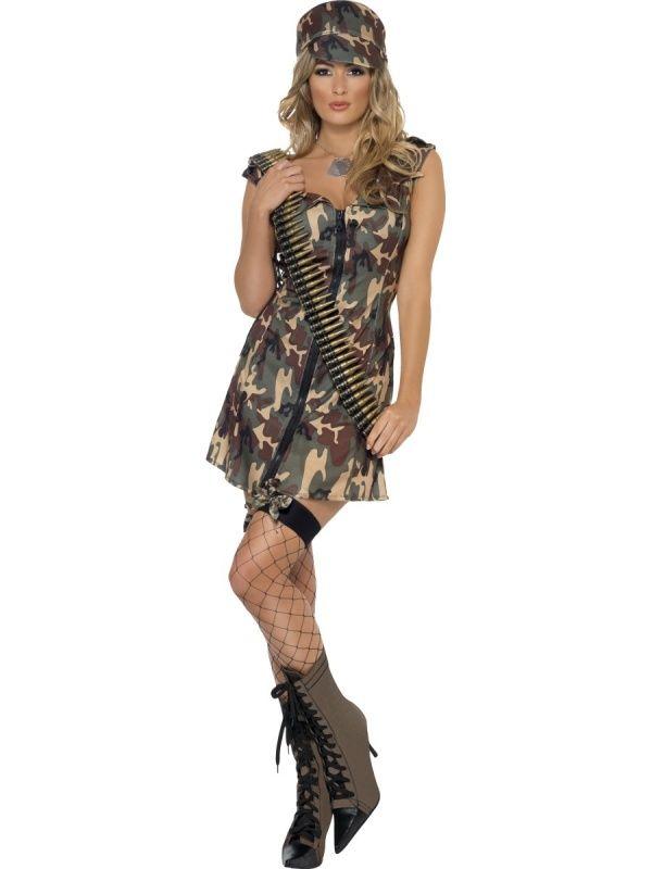 Kostium Army Girl. Strój dziewczyny z armii, która wprost z wojskowych koszarów wpadła na przyjęcie. Doskonałe przebranie na imprezę w stylu mundurowym.