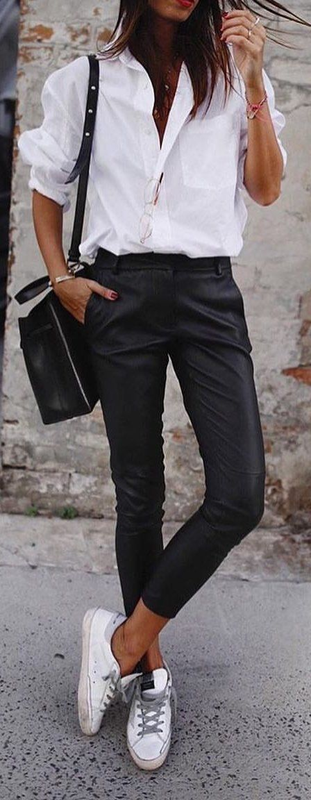 #spring #outfits woman in white dress shirt and black pants. Pic by @vogue.story