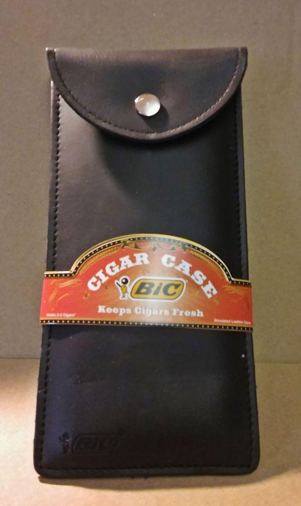 Bic Brand PU Leather 3 Finger 50 Ring Size Cigar Travel Case #Bic
