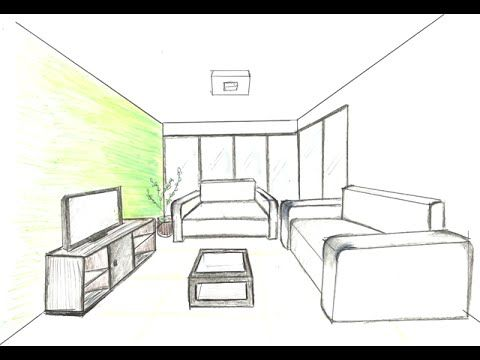 AULA de PERSPECTIVA CÔNICA Projeção Design de Interiores Um Ponto de Fuga 3D - YouTube