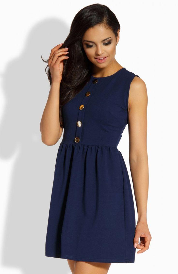 Lemoniade L203 sukienka granatowa Elegancka sukienka, rozkloszowany fason, przód ozdobiony złotymi guzikami