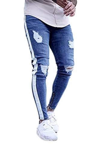5502bf9c93c9d $14.98 Canrulo Men's Skinny Ripped Jeans Stretch Straight Denim Pants  Distressed Destroyed Side Zippert Biker Jeans