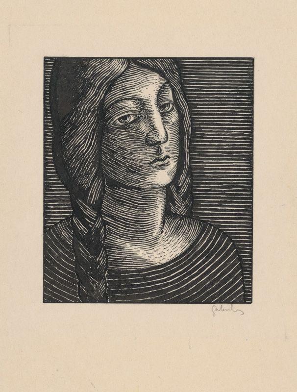 Mikuláš Galanda – Hlava ženy s dlhými vrkočami, okolo 1925, tuš/pero