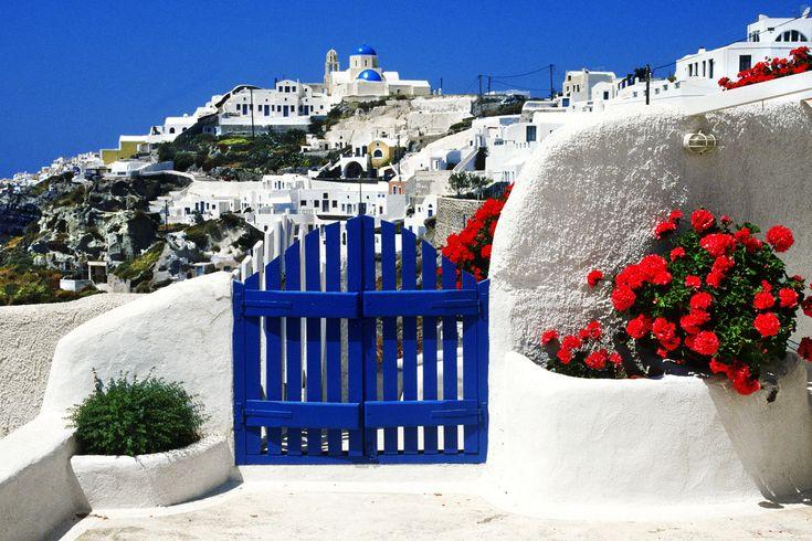 Santorini: Cant Wait, Blue Shutters, Santorini Greece, Buckets Lists, Favorite Places, Cobalt Blue, Greek Islands, Bright Colors, Dreams Destinations