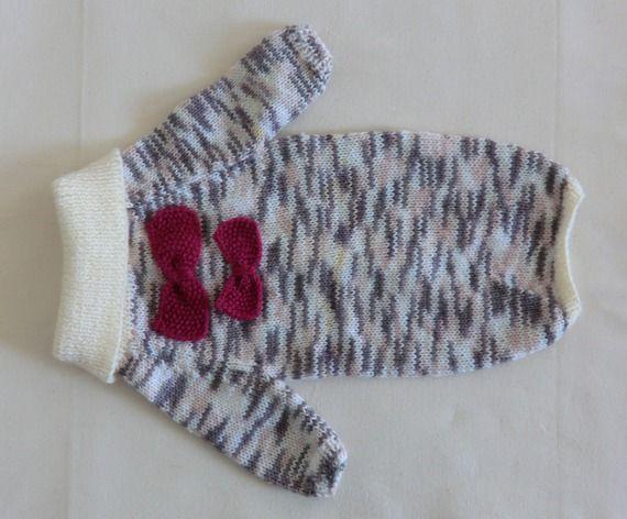 Manteau pour chien, en laine aux noeuds papillon, Taille M, 36cm chiné mauve tricoté main