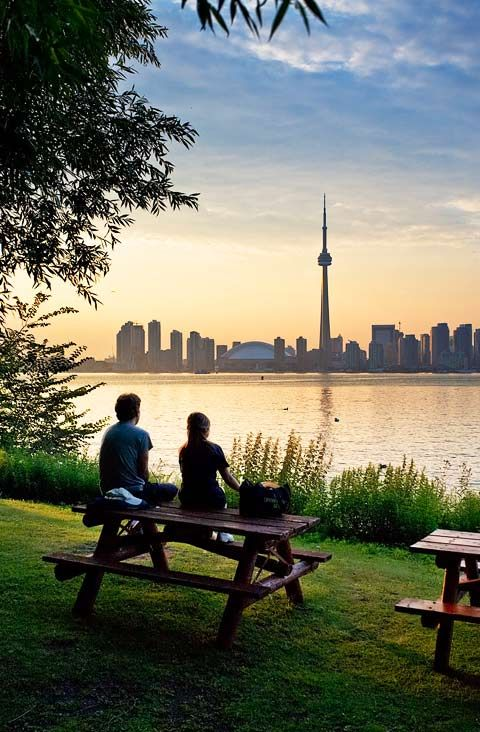 Enjoying the view from the Toronto Islands.