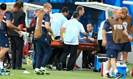 England physio Gary Lewin carried off with dislocated ankle