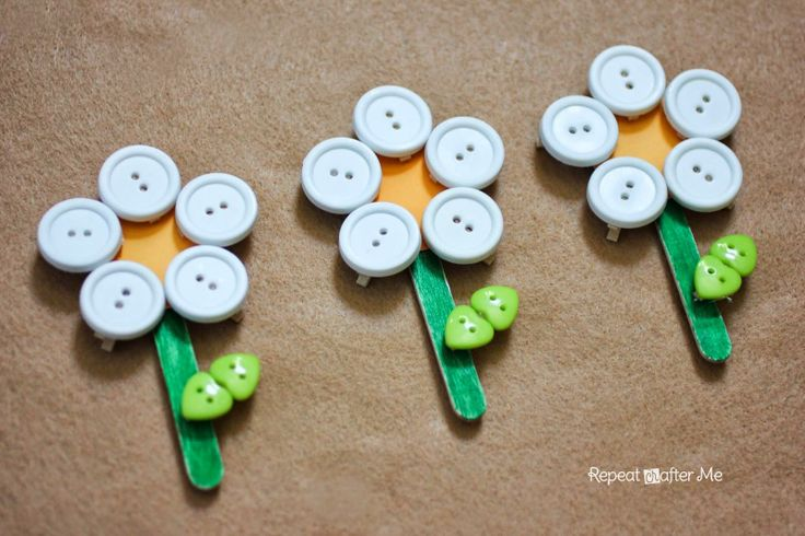 Button Clothespin Daisy Flowers